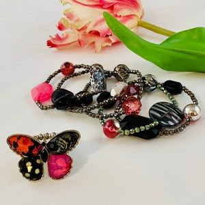 Jewelry - 5 Fashion Bracelets and Stretch Butterfly Ring